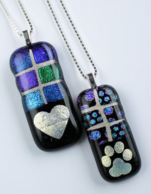Mosaic pet memorial fused glass pendant — ICON