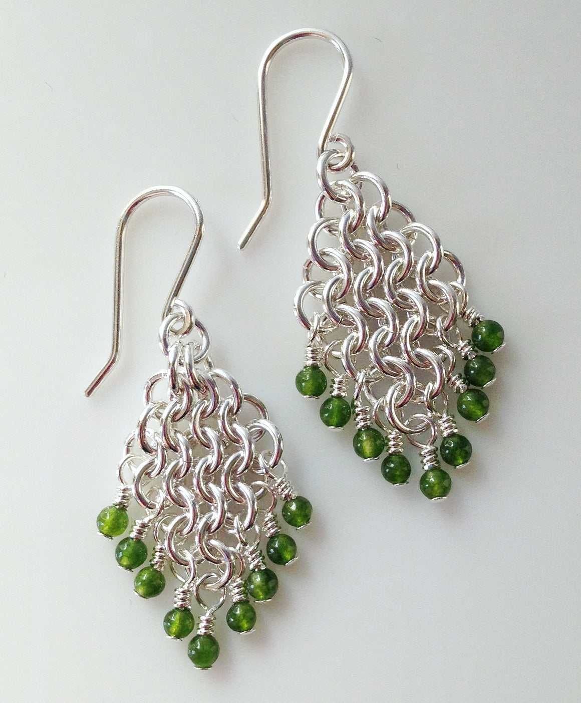 Jade chainmaille earrings