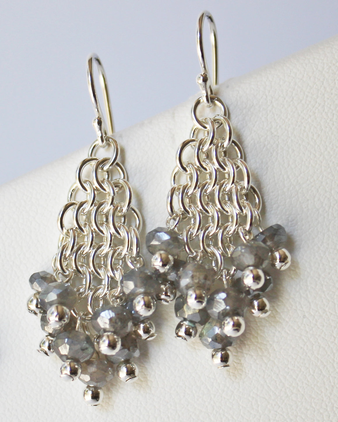 Labradorite chainmaille earrings