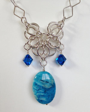 Larimar blue crazy lace agate chainmaille necklace
