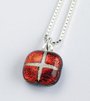 Mosaic pet memorial fused glass pendant — MINI