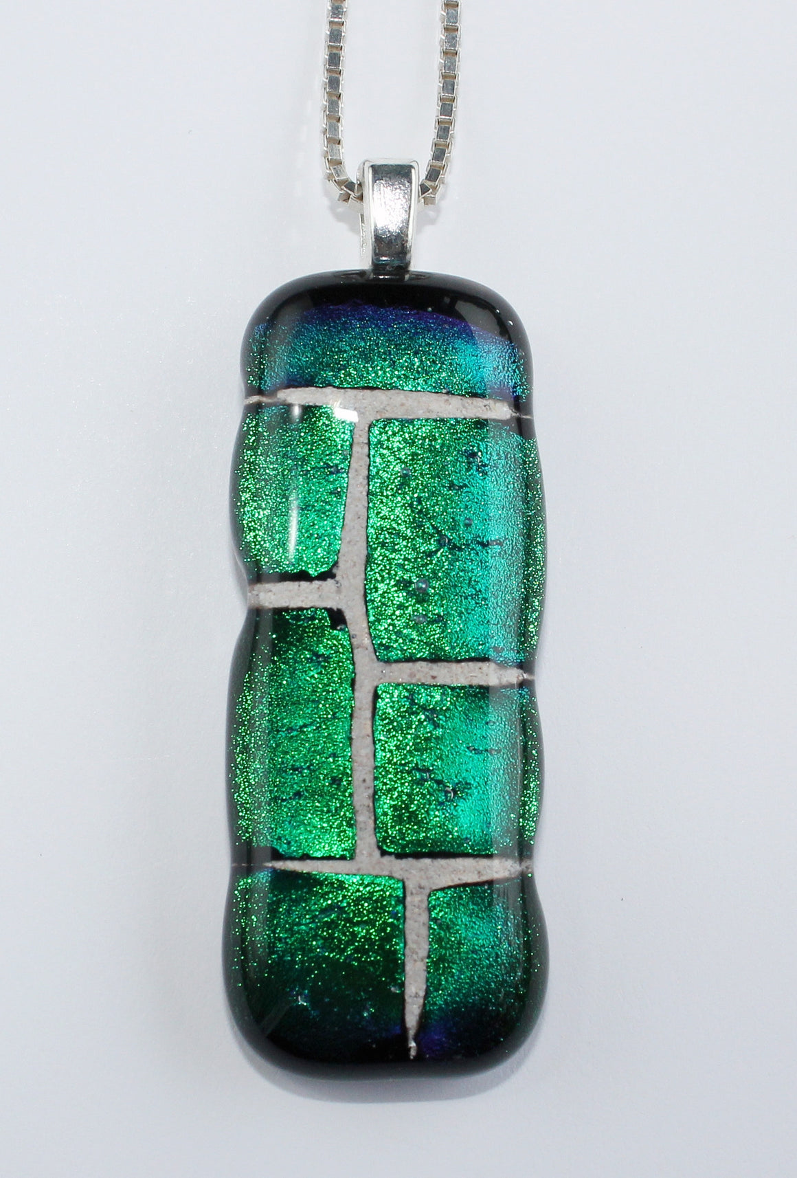 Mosaic pet memorial fused glass pendant — COLUMN