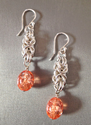 Orange glass Byzantine earrings