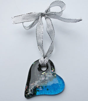 Light catcher pet memorial fused glass ornament — HEART