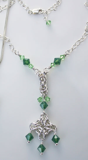 Soft green crystal Byzantine chainmaille necklace