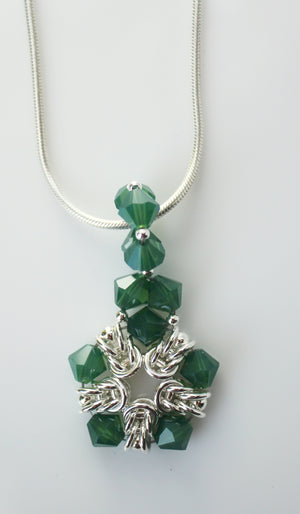 Soft green crystal Byzantine chainmaille pendant