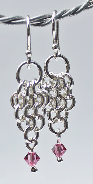 Petite pink crystal chainmaille earrings