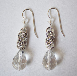 Quartz crystal Byzantine earrings