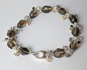Smoky quartz and crystal cha cha bracelet