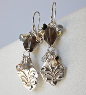 Smoky quartz silver charm earrings