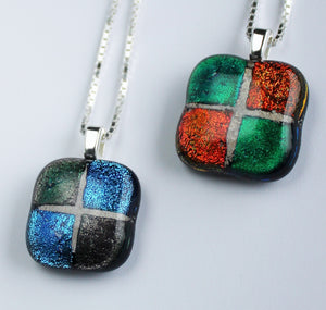 Mosaic pet memorial fused glass pendant — SQUARE