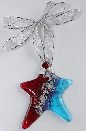 Light catcher pet memorial fused glass ornament — STAR