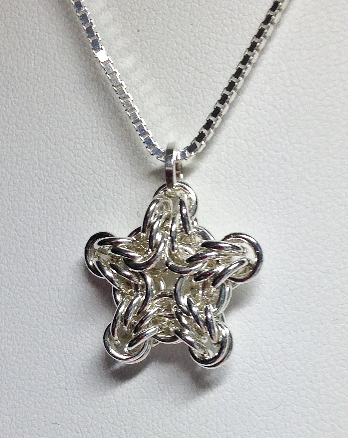 Little silver star chainmaille pendant