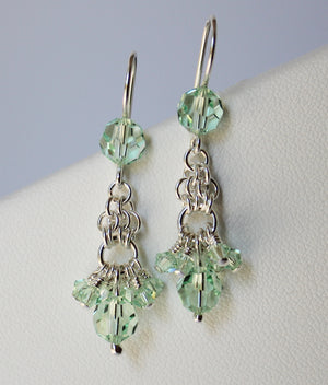 Soft mint crystal chainmaille earrings