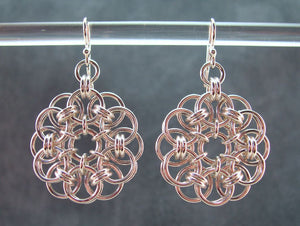 Silver flower pendant and earring set