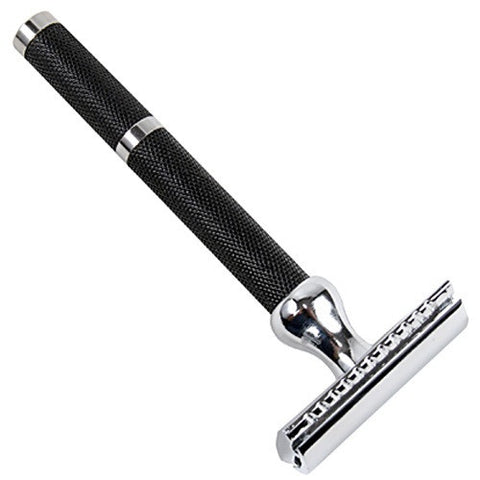 """71R - 3pc Long Handle Safety Razor"" (Black/Chrome) by Parker"