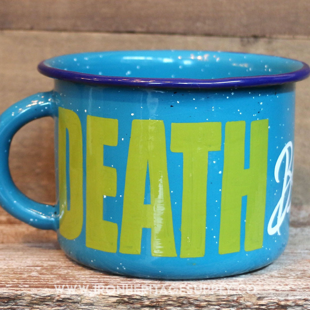 """Death Before Decaf Mug"" by Brown Magic Paint Co."