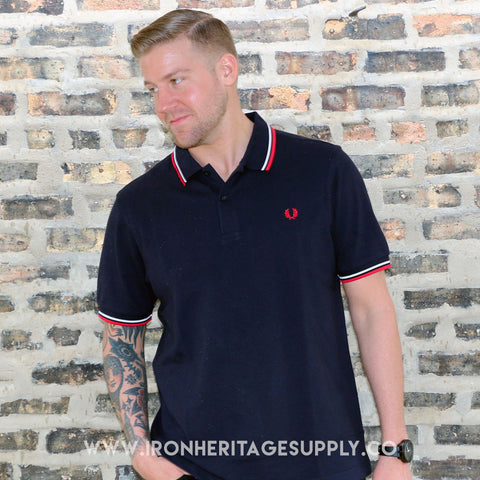 """Slim Fit Twin Tipped Polo"" (Navy/White/Red) by Fred Perry"