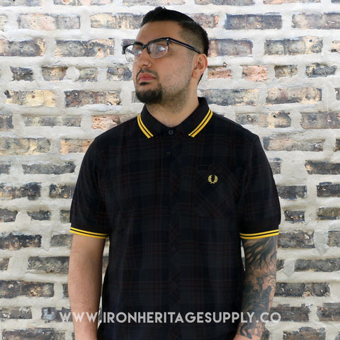 """Slim Fit Twin Tipped Polo"" (Black/New Yellow) by Fred Perry"