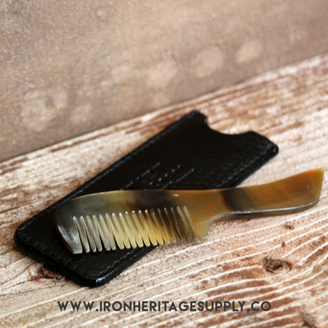 """Genuine Ox Horn Mustache Comb"" by Parker"