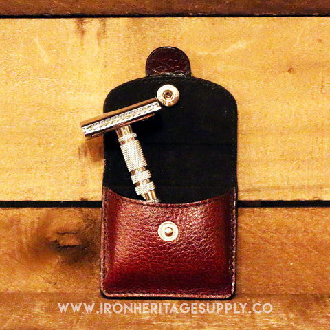"""4 pc Travel Safety Razor & Leather Case"" by Parker"