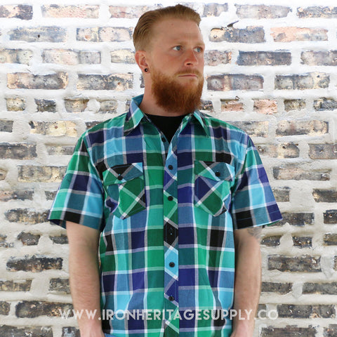 """Checked Pattern Button Down Shirts"" (Multi) by Yago"
