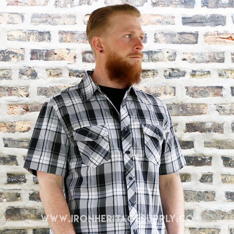 """Checked Pattern Button Down"" (Grey/Black) from Yago"