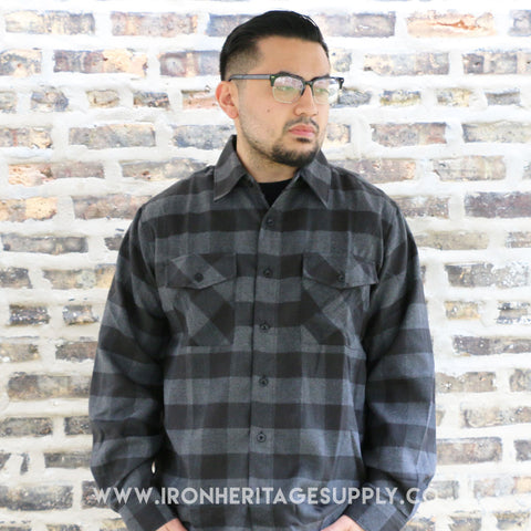 """Check Patterned Button Down Flannel"" (Black/Grey) by Yago"