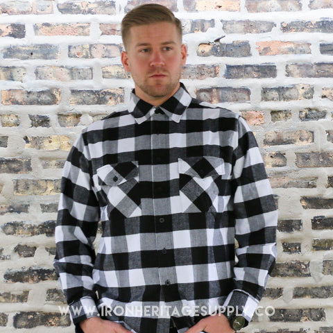 """Check Patterned Button Down Flannel"" (Black/White) by Yago"