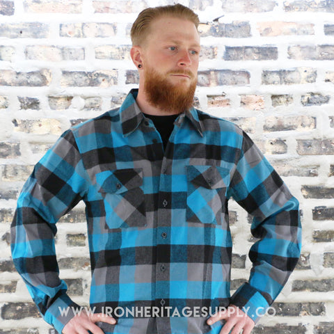 """Check Patterned Button Down Flannel"" (Turquoise/Black) by Yago"