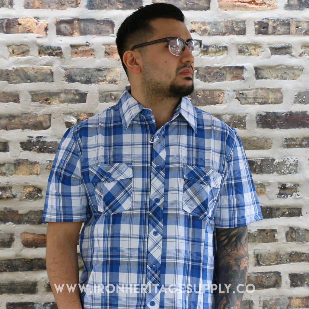 """Checked Pattern Button Down"" (Blue/White) by Yago"