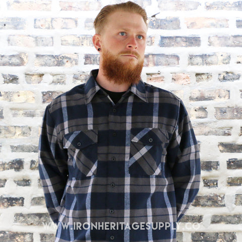 """Check Patterned Button Down Flannel"" (Navy/White) by Yago"