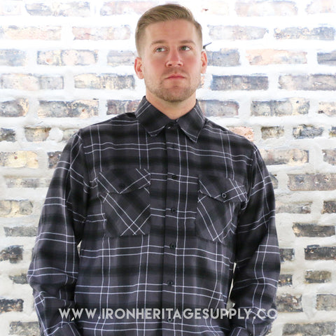 """Check Patterned Button Down Flannel"" (Grey) by Yago"