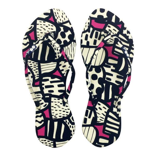 Chose Chic Kawaii Abstract Print Slim Thong Sandals for Women