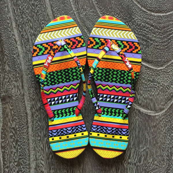 Chose Chic Kawaii Aztec Print Thong Sandals for Women