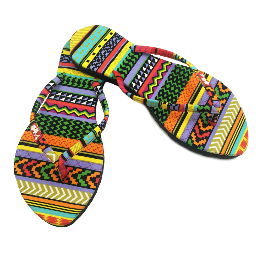 Chose Chic Kawaii Aztec Print Flip Flops for Women