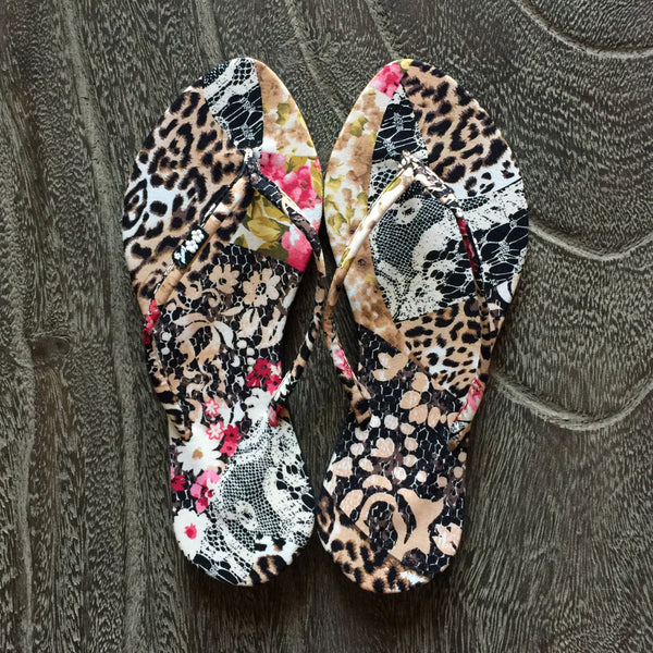 Chose Chic Kawaii Animal Patchwork Print Flat Flop Shoes for Women