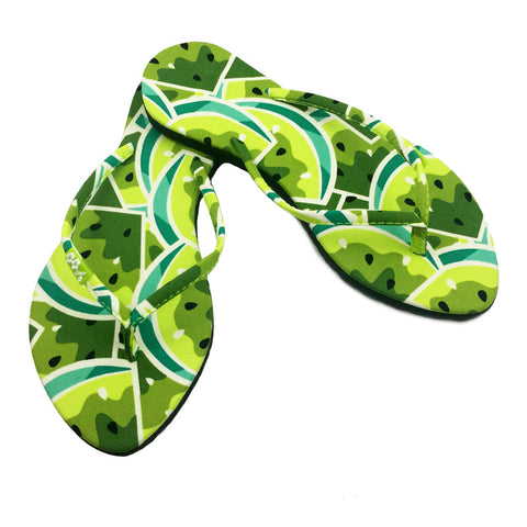 Chose Chic Kawaii Green Melon Fruit Print Flip Flops for Women