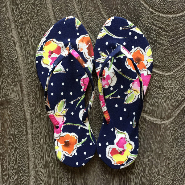 Chose Chic Kawaii Floral Print Flat Flop Shoes for Women Navy Blue