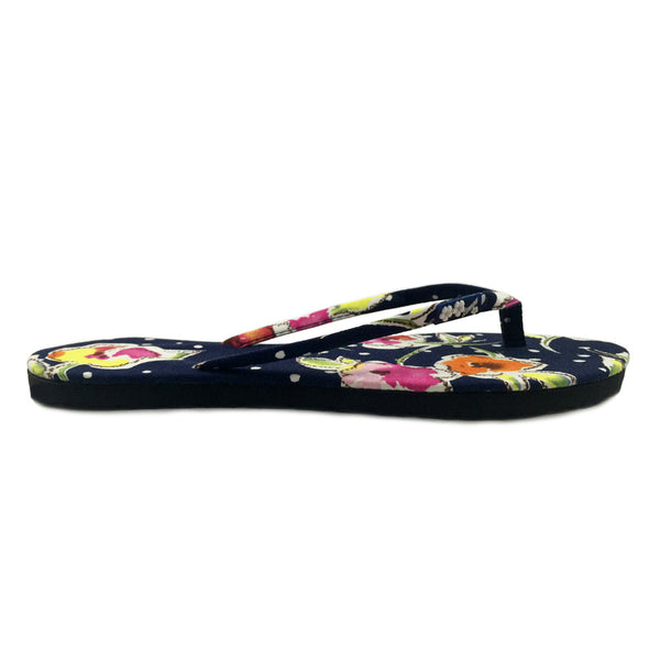 Chose Chic Kawaii Navy Blue Floral Print Flip Flops for Women