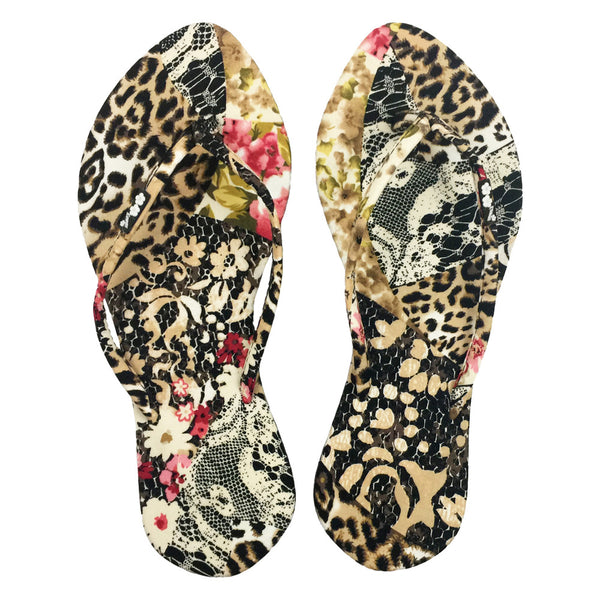 Chose Chic Kawaii Animal Patchwork Print Thong Sandals for Women