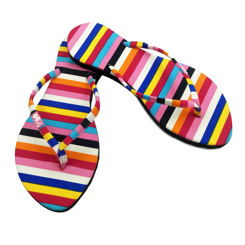 Chose Chic Kawaii Rainbow Striped Flip Flops for Women
