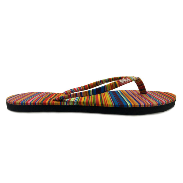 Chose Chic Kawaii Multicolor Striped Flat Flop Shoes for Women