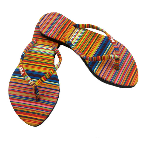 Chose Chic Kawaii Multicolor Striped Flip Flops for Women