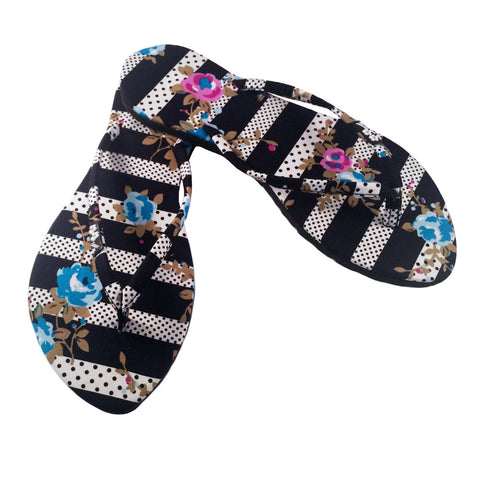 Kawaii Series- Slim Stripes and Polka Dots with Floral Sandal Black / White / Multi