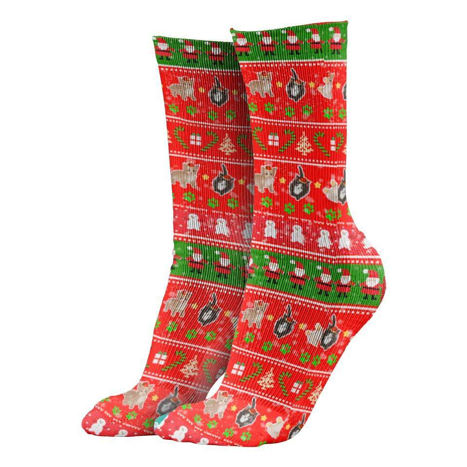 Christmas Socks V1 Meowy Christmas Socks MEOWY-CHRISTMAS_CREW-SOCKS-1