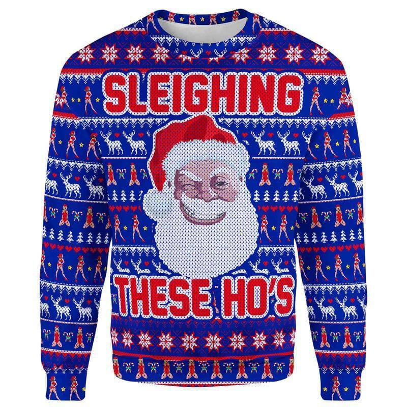 Christmas Sweater S Sleighing These Ho's Christmas Sweater SLEIGHING-THESE-HOS_SWEATSHIRT-3.0_SM