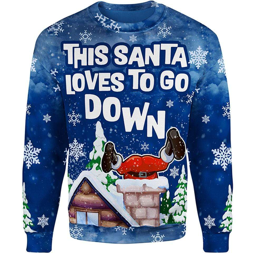 Christmas Sweater Santa Goes Down Christmas Sweater