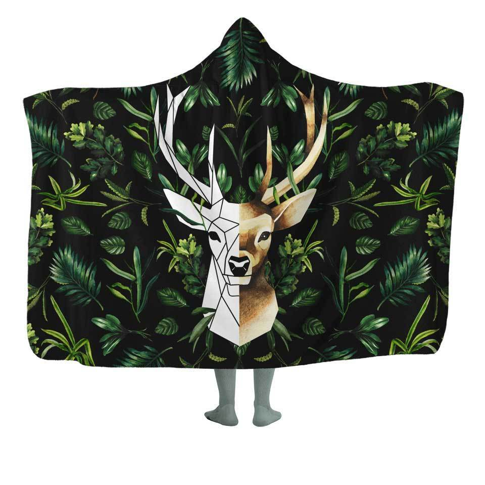 Geometric Deer Hooded Blanket