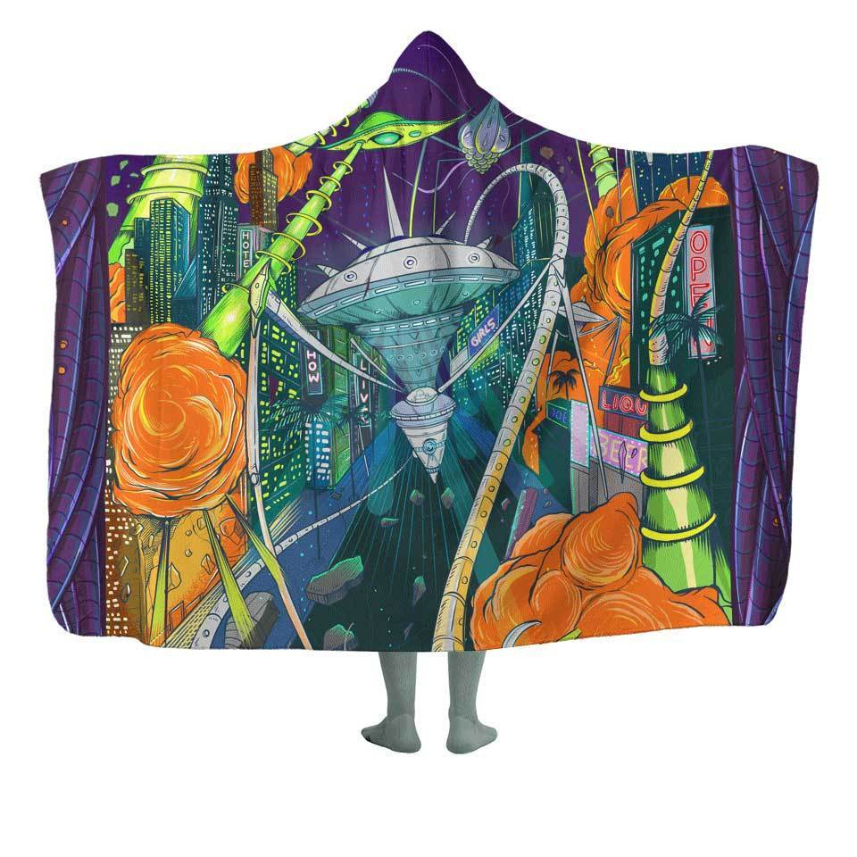 Space Invasion Hooded Blanket